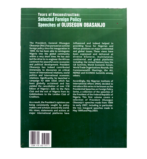 Years of Reconstruction: Selected Foreign Policy Speeches of Olusegun Obasanjo 2